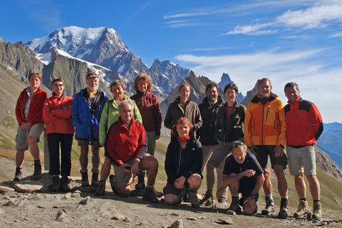Gruppe vor Mont Blanc