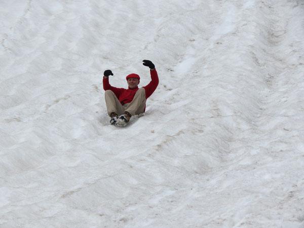 Schneefeld abfahren