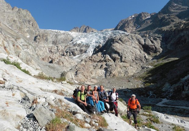 Barre des Ecrins / Glacier Blanc: (v.l.) Michael Kreuz, Matthias Riedl, Marry Brandmayer, Wolfgang Lex, Rainer Preis und Rudi Riepl