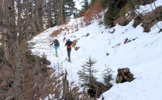Schneemangel im Aufstieg